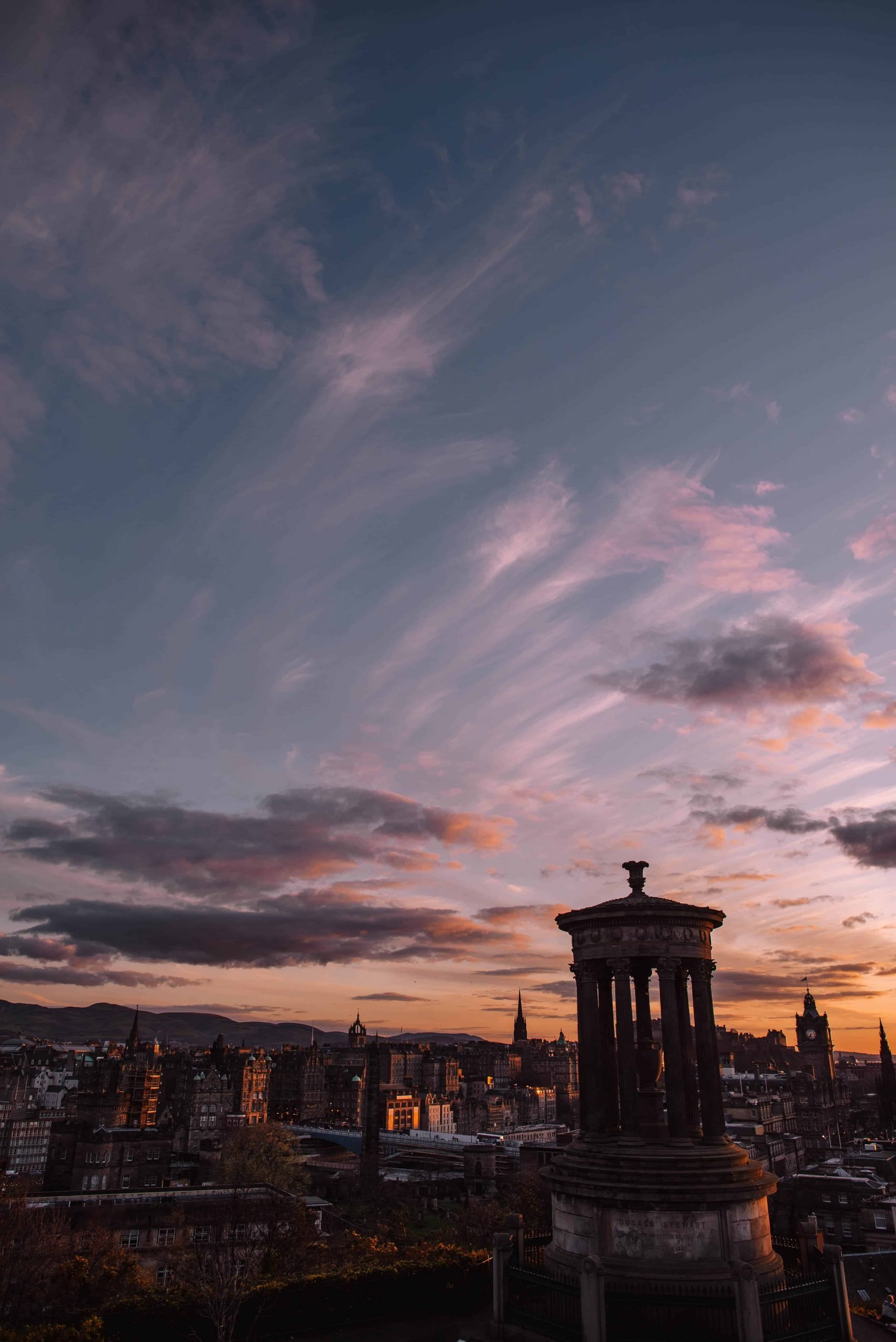 Carlton Hill in Edinburgh is perfect for sunset.