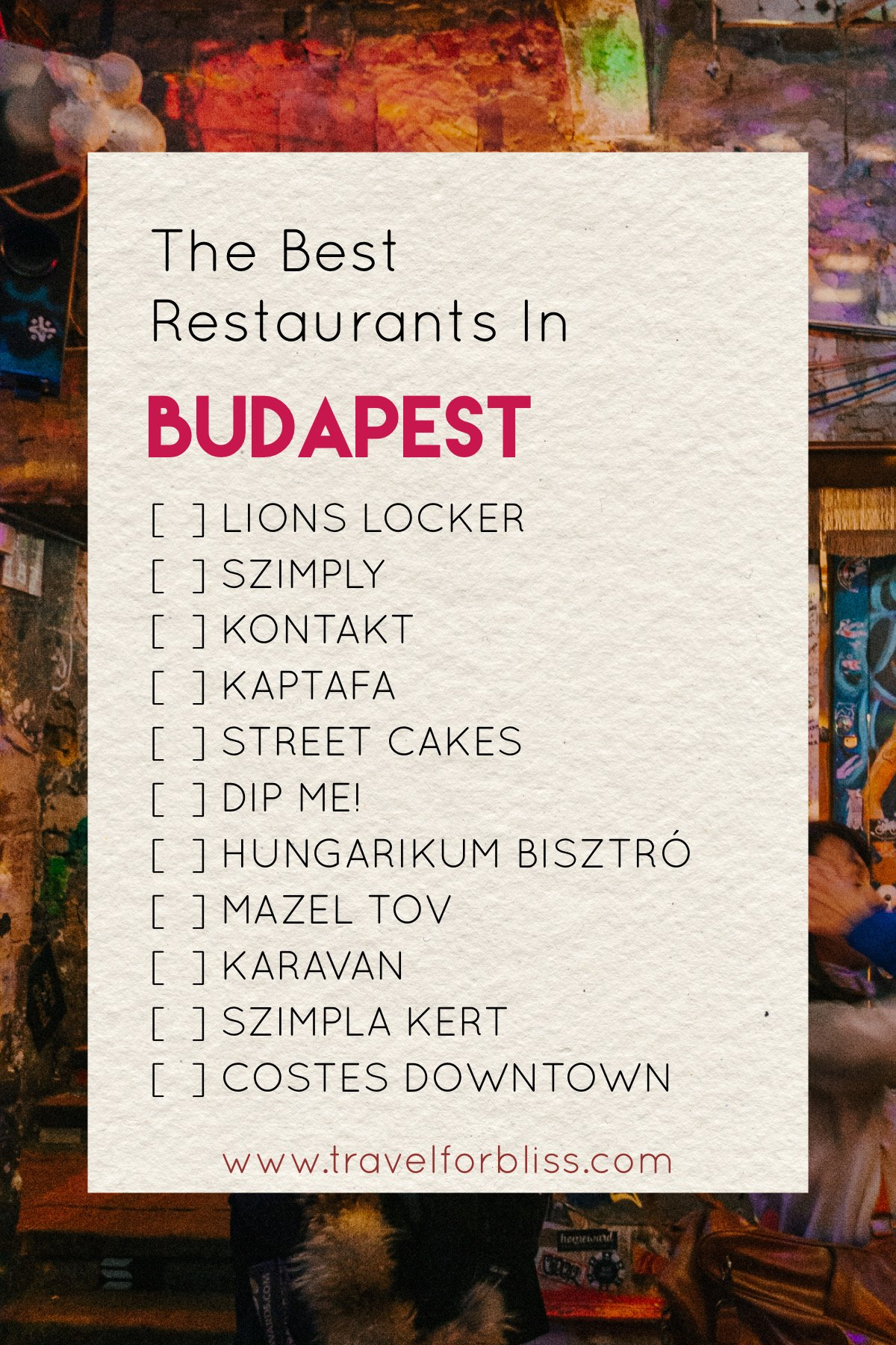 The Best Restaurants In Budapest