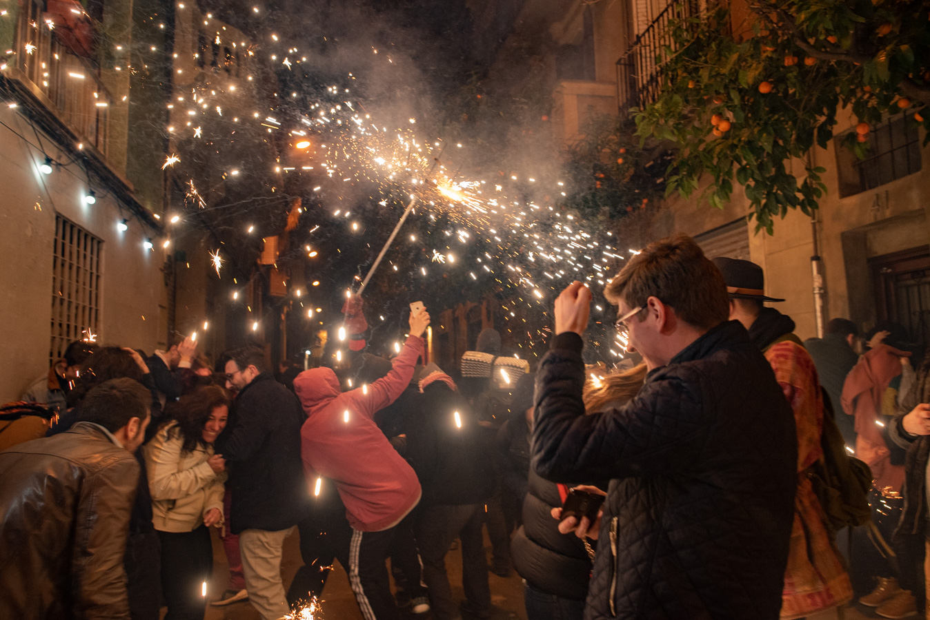 Catalans dancing during the Correfoc
