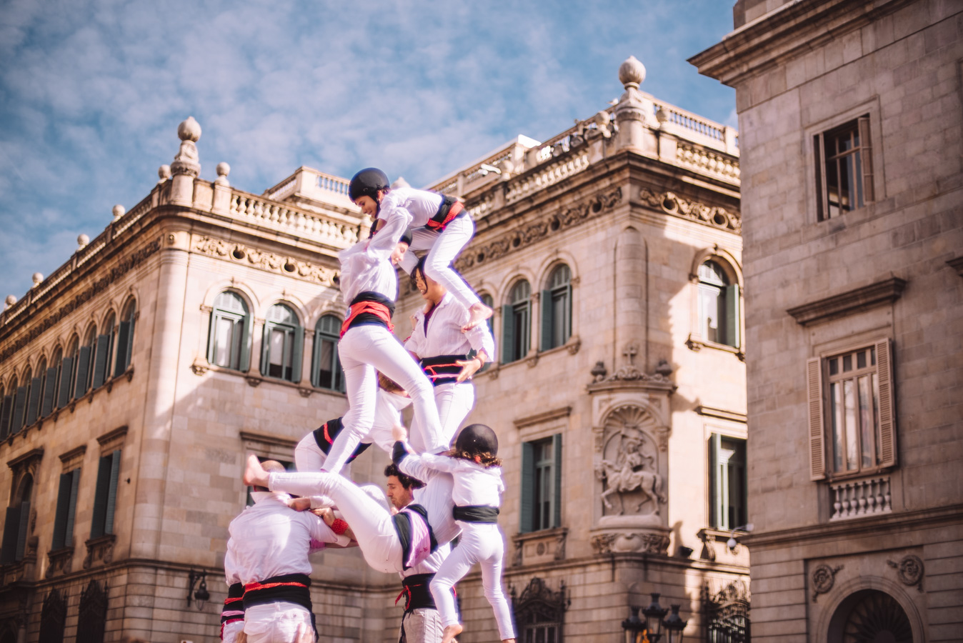 A castell falling during a competition in Barcelona