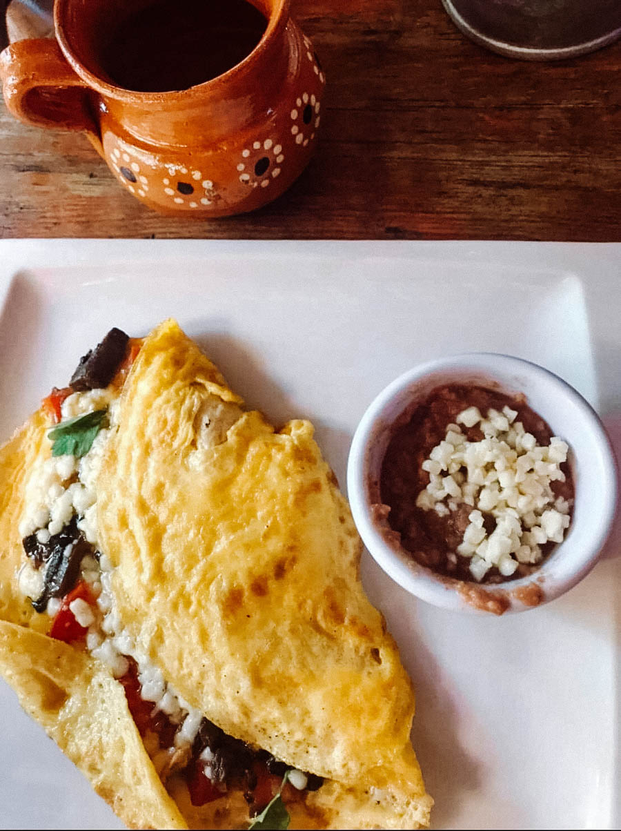 Breakfast at Loco Tulum is a delicious mix of Mexican and Mediterranean