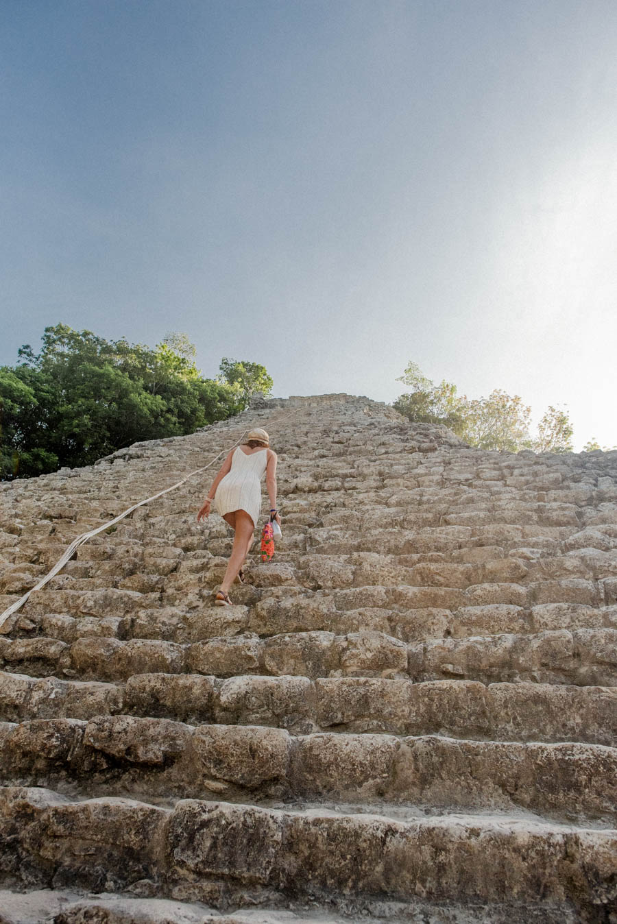 Coba has the only mayan Pyramid that you can climb in Mexico. Make sure you wear appropriate footwear. There are a lot of stairs.