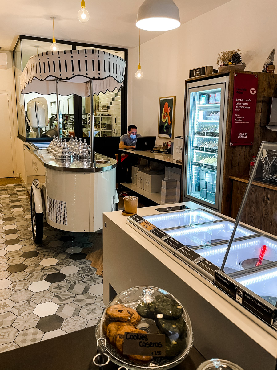 Parallelo makes the best gelato in Barcelona. They make vegan gelato as well as dairy