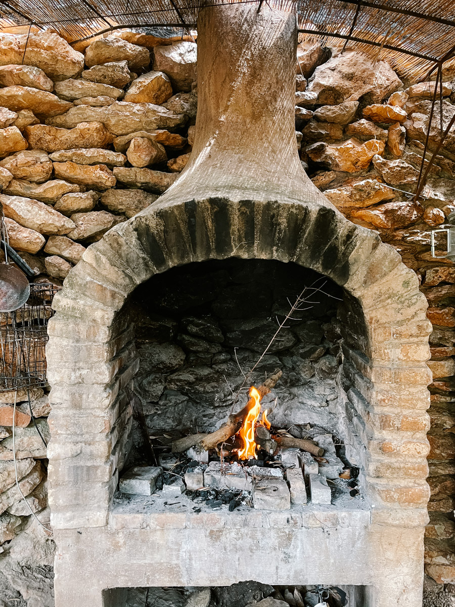 Dinner on a fire at a cave house in Spain